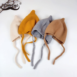 Chapéu de gorro de malha quente do bebê bonito crianças menina menino outono inverno chapéu cor sólida lacing crianças gorro da criança