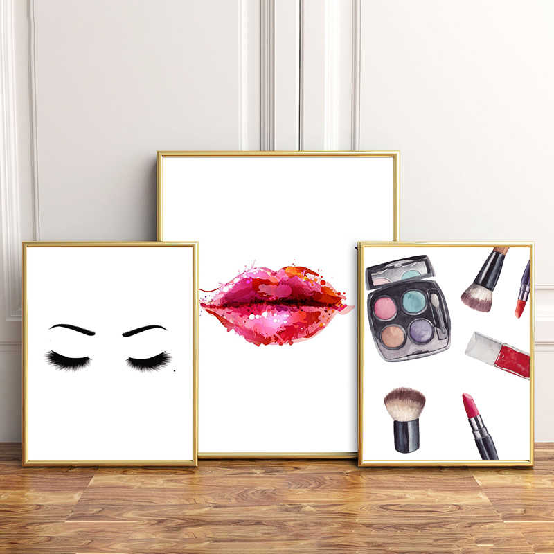 Fashion Red Lip Eye Shadows Makeup Salon Wall Art Canvas Painting Nordic Posters And Prints Wall Pictures For Living Room Decor