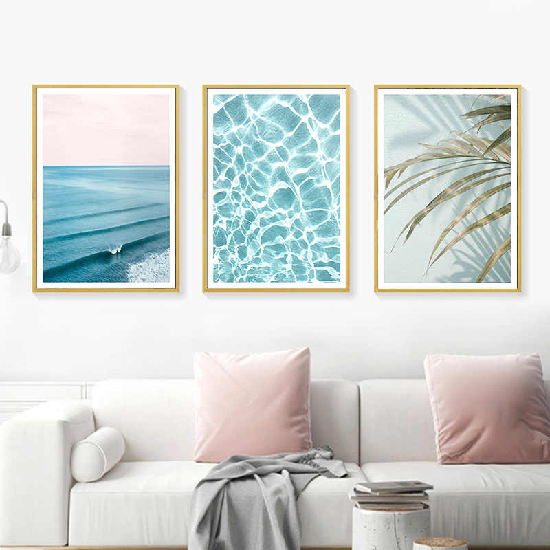 Ocean Waves Leaf Wall Poster Nature Landscape Canvas Print Nordic Scenery Painting Scandinavian Art Home Decoration Picture