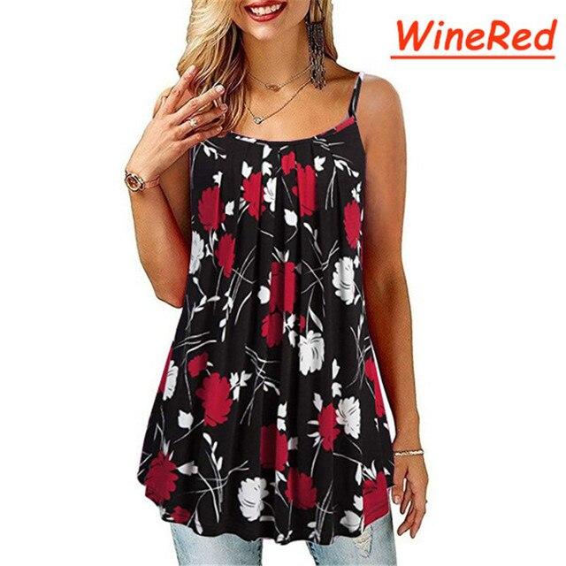 Plus Size S-6 XL Ladies Shirt Women Summer Sleeveless Floral Print Casual Loose Female T shirt Tops 1