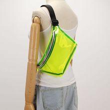Women Holographic PVC Waist Chest Bag Travel Phone Pouch Fashion Transparent Belt Fanny Pack