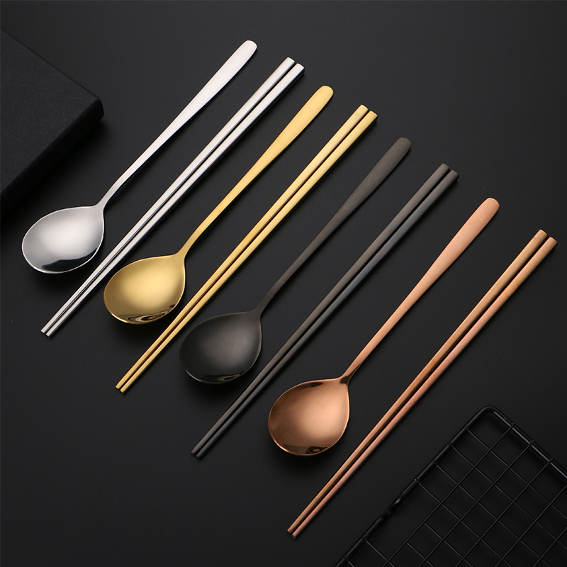 Home Stainless Steel Mirror Polished Korean Round Spoon Chopsticks Tableware Kit