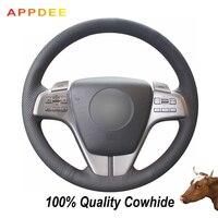 APPDEE Mazda 6 2009 용 블랙 정품 가죽 자동차 핸들 커버