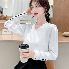 Korean Fashion Women Blouses Woman Chiffon Blouse Shirt Plus Size Tops Women White V-neck Shirts Top Blusas Femininas Elegante