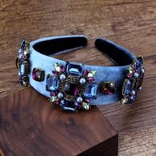 Accesorios para el cabello Vintage de color púrpura y azul con piedra de cristal diademas de novia con diamantes de imitación de Perla Barroca para boda
