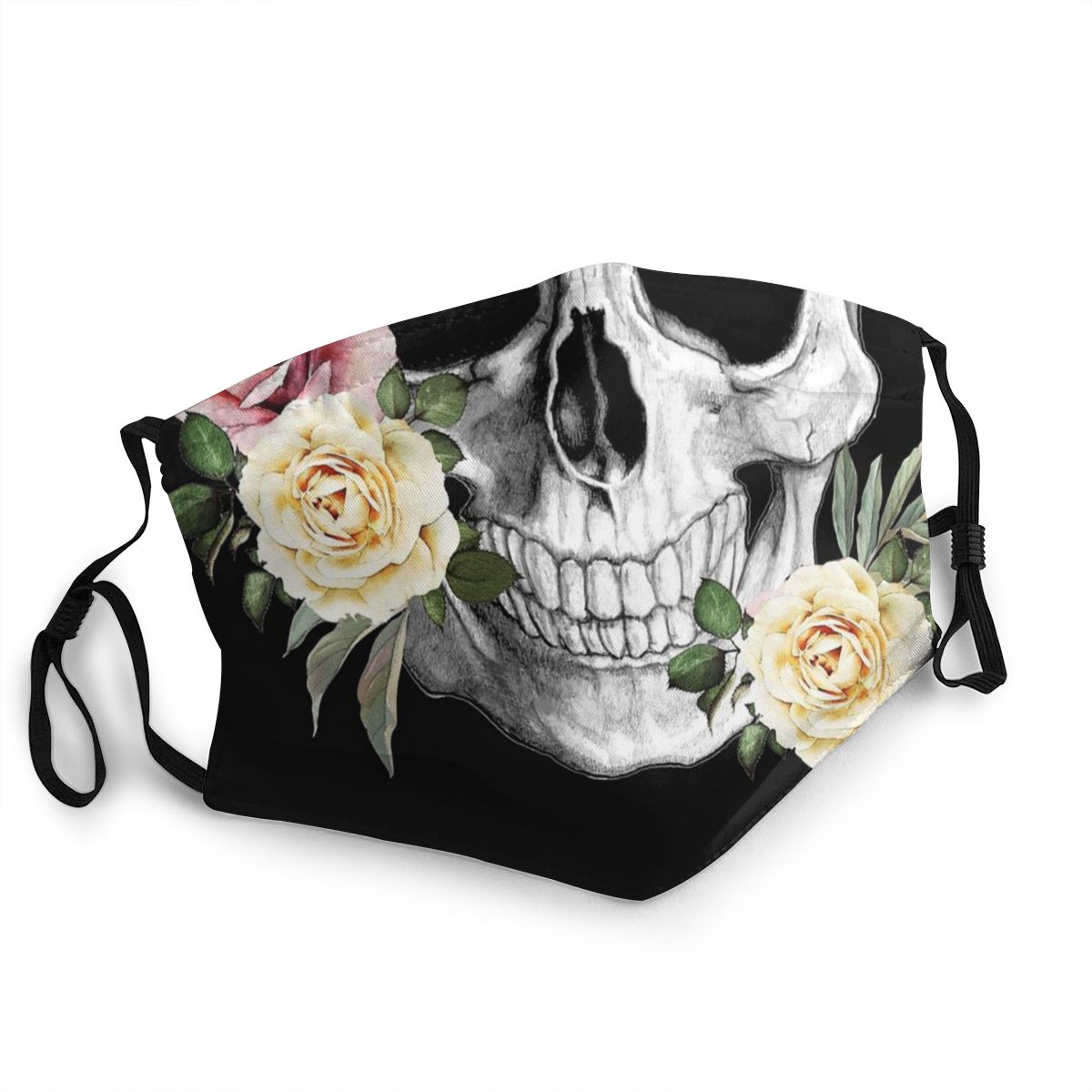 Skull Skeleton Roses Unisex Reusable Face Mask Anti Bacterial Dust Protection Cover Respirator