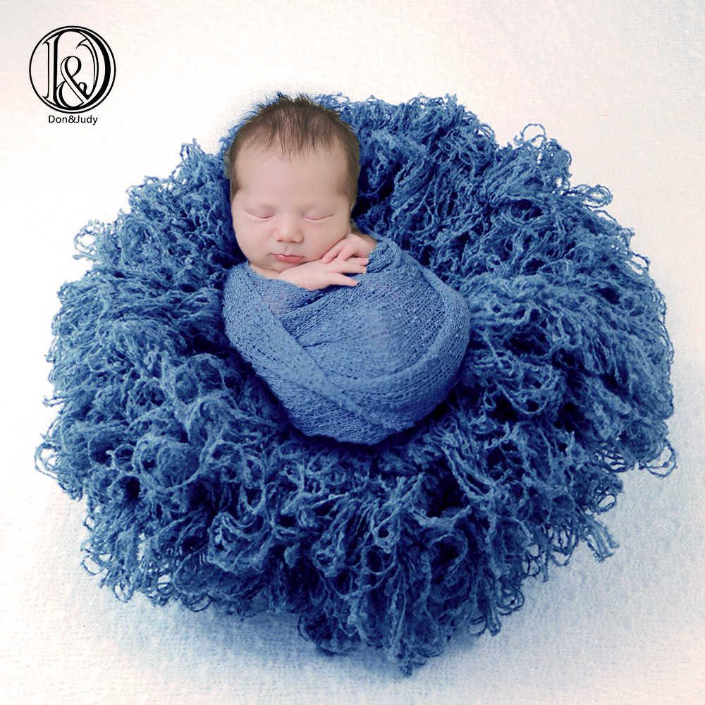 Newborn Photography Props Basket Faux Fur Wrap Baby Photo Shoot Baskets Filler Posing Stuffer Background Blanket Curly Rug Blue