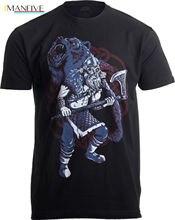 цена на Viking Berserker, Bear Spirit | Valhalla Norse Nordic Mythology Warrior T-shirt Short Sleeve Discount 100 % Cotton T Shirts