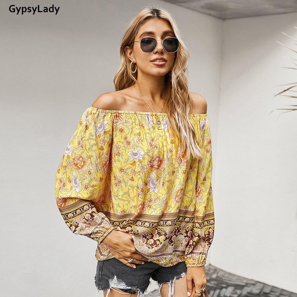 Купить винтажная блузка gypsylady с цветочным принтом рубашка в стиле