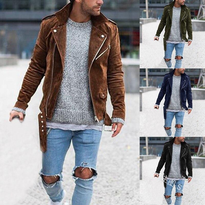 MonerRffi Men Stylish Motocycle Jacket Streetwear Long Sleeve Suede Jacket Casual Autumn Overcoat Outwear Chaqueta Hombre 2019