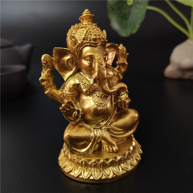 Golden Ganesha Statue Buddha Elephant God Sculpture Ganesh Figurines Resin Craft Home Garden Flowerpot Decoration Buddha Statues 2