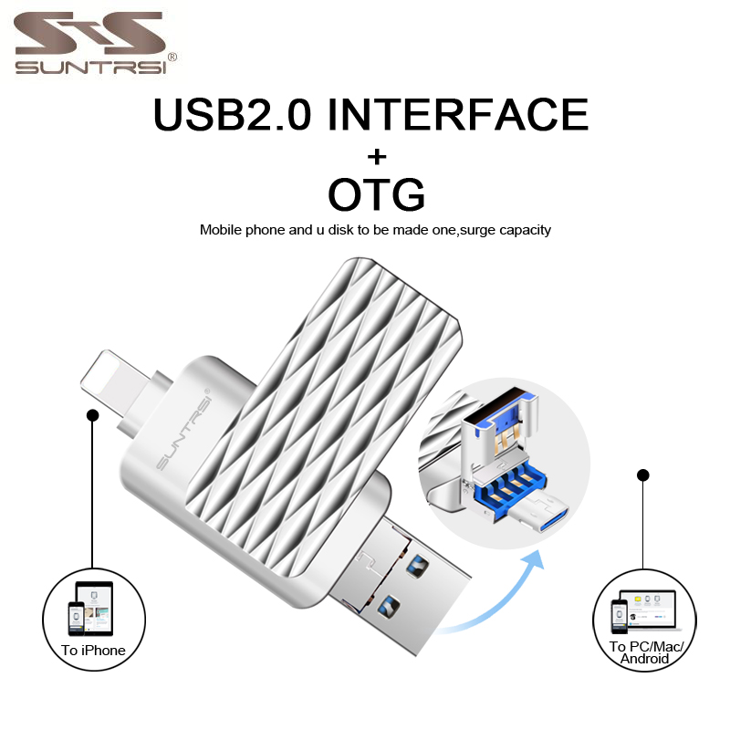 Suntrsi OTG 3 In 1 2.0 USB Flash Drive 32GB For Smart Iphone 7/8/x/xr/Android/ipad 64GB Pendrive High Speed Free Shipping