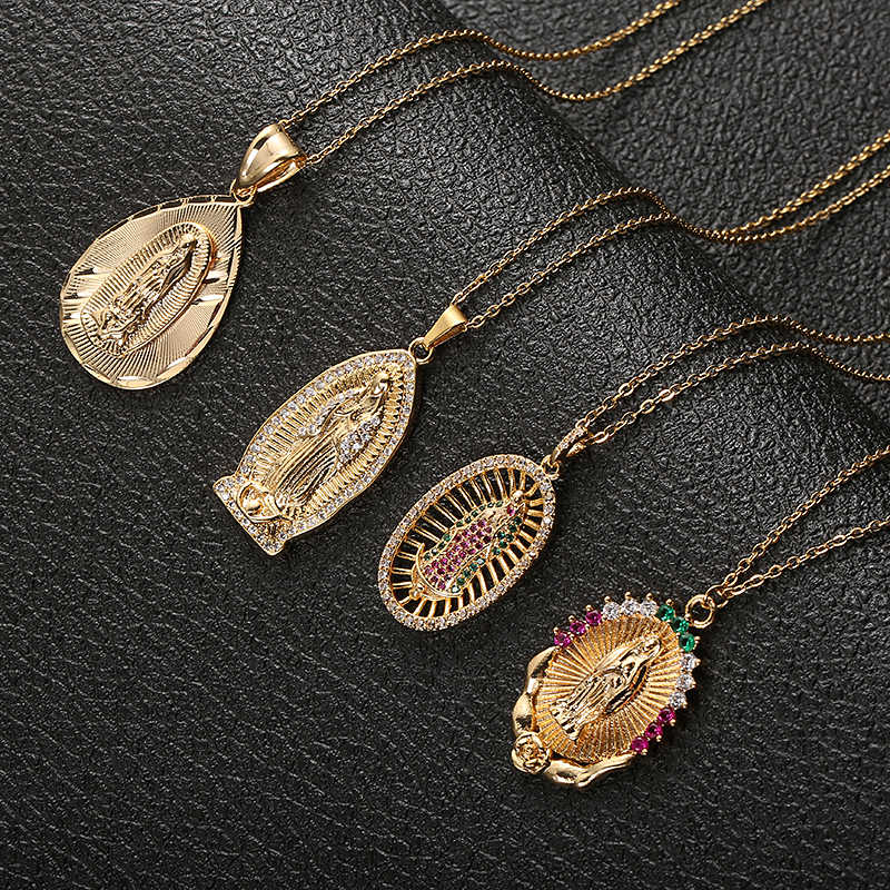 Fooderwerk Stainless Steel Virgin Mary Pendant Necklace Gold Bijoux Crystal Necklace Women Fashion Pendant Catholic Jewelry