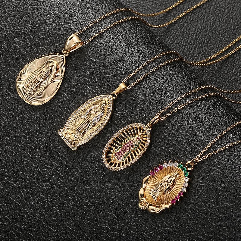 Кулон Fooderwerk из нержавеющей стали с изображением девы Марии, ожерелье, золотая бижутерия, ожерелье с кристаллами, женская модная подвеска, ка...