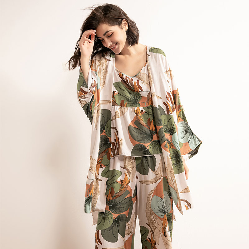 SPRING & FALL New Ladies Pajamas Set Cartoon Banana Leaves Printed Women Comfort Loose Homewear  Large Size  Femme Sleepwaear