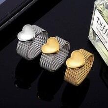 Anillos anchos texturizados de acero inoxidable chapado en oro para mujeres anillo de corazón de amor lindo Simple para mujeres elegante regalo de joyería Vintage