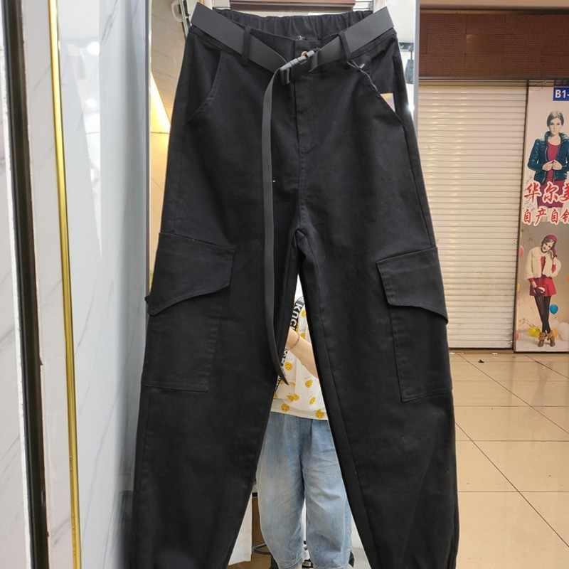 Hip Hop Casual Koreaanse Losse Womens Cargo Broek Bf Stijl Sjerpen Hoge Taille Zakken Jogger Vrouwelijke Enkellange Broek Grote size