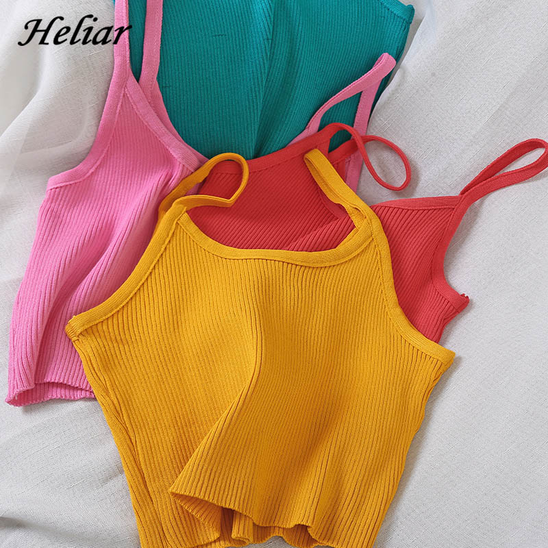 HELIAR Women Tops Knitting Camisoles Female Solid Camis Street Camisole Ladies Camis With Straps Spaghetti Crop Tops Women