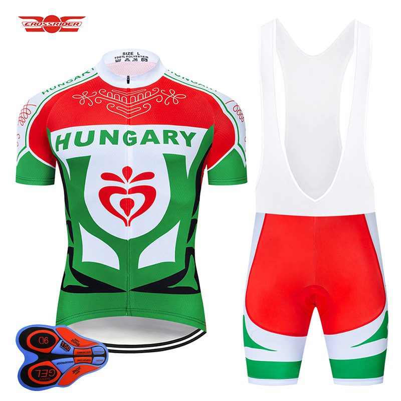 Crossrider 2019 HUNGARY Cycling Jersey 9D Set MTB Uniform Bike Clothing Breathable Bicycle Clothes Men's Short Maillot Culotte