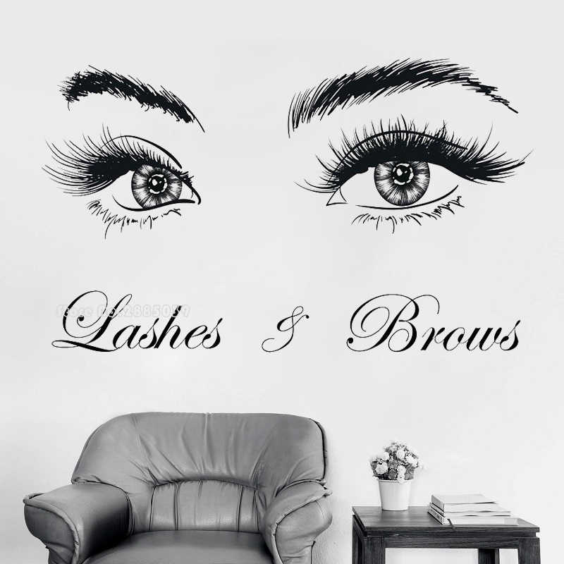 Mooie Ogen Lash Brow Art Vinyl Muursticker Wimpers Extensions Schoonheidssalon Decals Room Decor Wenkbrauwen Make Up Poster LL198