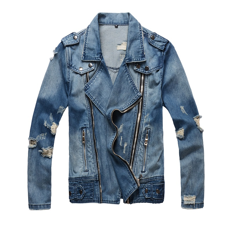 Fashion Streetwear Men Jacket Retro Blue Zipper Destroyed Ripped Denim Coats Biker Jackets Men Designer Hip Hop Jackets Hombre
