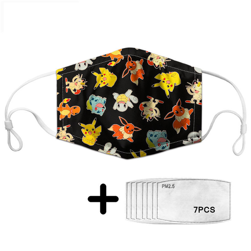 Pokemon Print Dust-proof Face Mask Mouth  Cartoon Kawaii Pikachu Pokemon Health Prevent Infection With PM2.5 7pcs Filters Custom