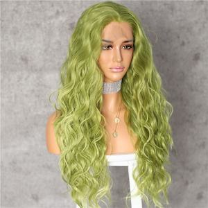 Image 3 - Lvcheryl Hand Tied New Green Color Hair Water Wave Hair wigs Heat Resistant Hair Wigs Synthetic Lace Front Wigs