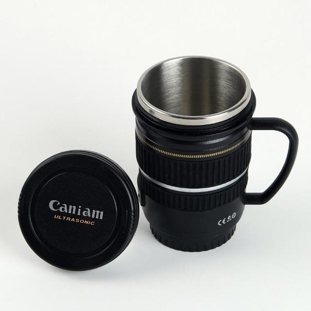 Creative Drinkware Cute Cup Stainless Steel Camera Lens Shaped Mugs Coffee Mugs Tea Cup Travel Vacuum Flasks With Lid Gift 2