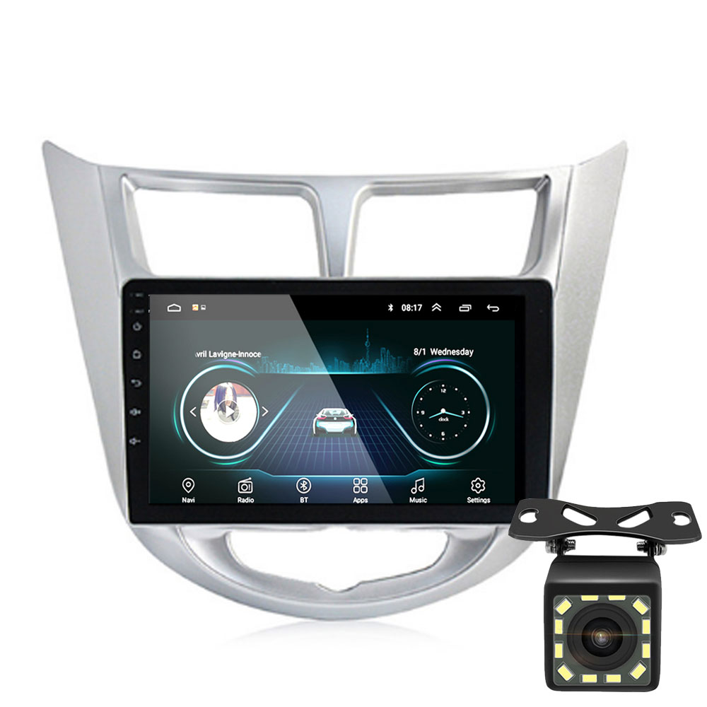 9''2 din Android 8.1 car DVD player for <font><b>Hyundai</b></font> Solaris <font><b>accent</b></font> Verna 2011-2016 radio recorder <font><b>Gps</b></font> WIFI usb audio image