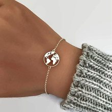 Fashion Gold/Silver /RoseGold World Map Pendant Chain Bracelet with Stainless Steel Link Chain Bracelet for Women charm bracelet цена и фото