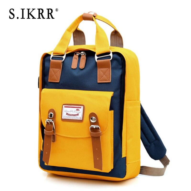 S.IKRR Women Backpack Multifunction Waterproof Oxford Travel Backpack Bookbags For Teenager Girls Large Capacity Bagpack Mochila