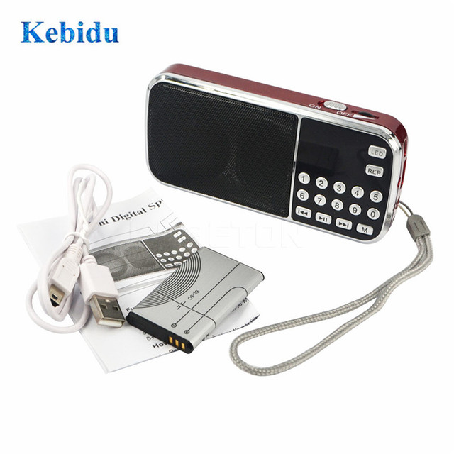 Kebidu L 088 الموضة المحمولة ايفي المتكلم مصغرة MP3 الصوت مشغل موسيقى مضيا مكبر للصوت مايكرو SD TF FM مصباح يدوي راديو
