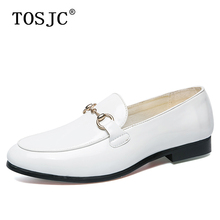 TOSJC Mens Buckle Loafers Patent Leather Pointed-toe Oxfords for Man Breathable Slip-on Formal Shoes Office Social Dress