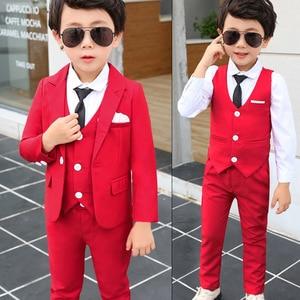 Spring Autumn Formal Boys Suit Set Children Party Host Wedding Costume Little Kids Blazer Vest Pants Clothing Sets