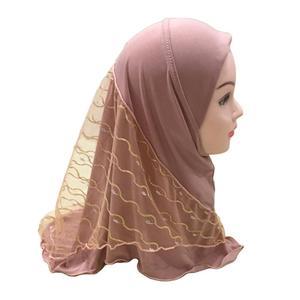 Image 5 - One Piece Amira Muslim Kids Girls Mesh Hat Headscarf Shawl Wrap Islamic Prayer Hijab Ramadan Cover Headwear Caps Middle East