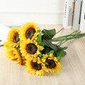 1 Букет Новый 29/32/60/64 см желтый шелковые искусственные цветы подсолнуха набор «сделай сам» для дома офиса вечерние сад свадебное украшение д...