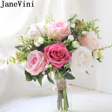 JaneVini Romantic Pink Flower Bride Hand Bouquet Artificial Rose Wedding Bouquet Rustic Bridal Throw Silk Flowers Bukiet Slubny(China)