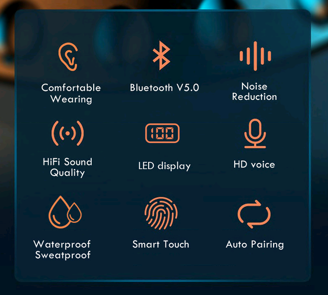 TWS Bluetooth 5.0 Earphones 2200mAh Charging Box Wireless Headphone 9D Stereo Sports Waterproof Earbuds Headsets With Microphone 5