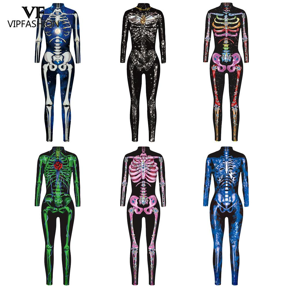 VIP FASHION <font><b>COS</b></font> Female <font><b>Sexy</b></font> Rose Skeleton Print Jumpsuits Long Sleeve Cosplay Costumes Horror Carnival Joking Catsuit Jumpsuit image