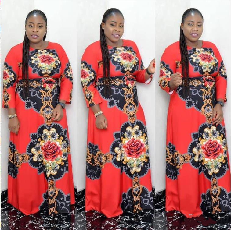 2019 New Arrival Spring And Autumn African Women Beauty Plus Size Printing Long Dress L-XL