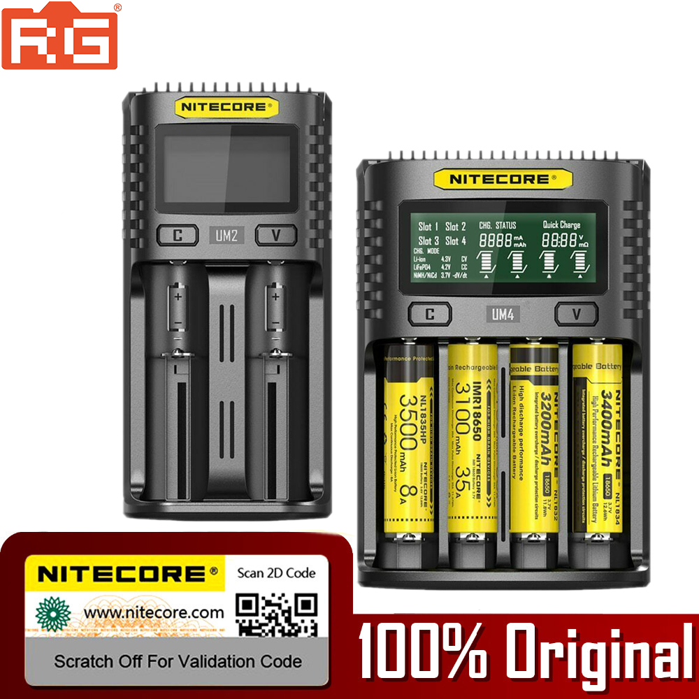 NITECORE Charger UM2 22650 Intelligent 16340 UMS4 21700 20700 18350 for 22650/26500/18350/.. title=