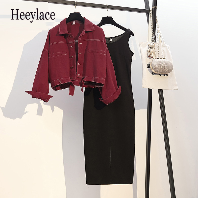 2019 Autumn Winter Women Two Piece Set Turn-down Collar Single Breasted Top Coat + Dress Solid Black Set 2 Piece Set