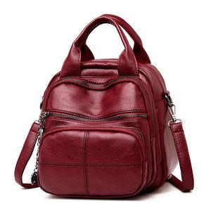 Image 1 - Korean Style Leisure Soft Leather Female Backpack 2018 Multifunction Travel Bag Mini Backpack Mom Women Shoulder Bag Sac A Dos
