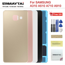 Back Battery Rear Glass Cover For Samsung Galaxy A3 A5 A7 2016 A310 A510 A710 A9 Pro A910 Battery Case Housing Adhesive Sticker