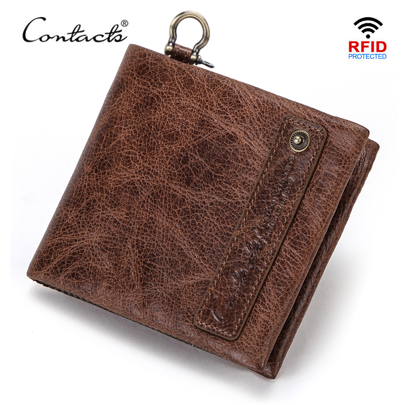 CONTACT'S 100% Genuine Leather Men Wallets Small Coin Purse For Male Casual Mini Card Holder Wallet Brand Rfid Carterass Quality
