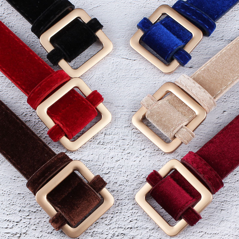 Velvet Sweater Accessories For Women's Dresses With Square Buttons And Waistbands Women Can Wear Belts On The Runway Strap Belt