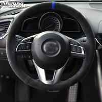 Shining wheat Alcantara Steering Wheel Cover for Mazda 3 Axela Mazda 6 Atenza Mazda 2 CX 3 CX 5 Scion iA 2016
