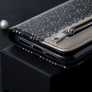 Image 5 - LLZ.COQUE Magnetic Leather Wallet Phone Case for IPhone X XS MAX XR 11 Pro Max 6 6S 7 8 Plus 5S 5 SE 2020 Zipper Flower Cover