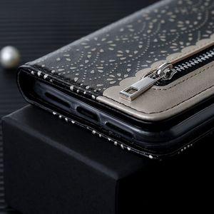 Image 5 - LLZ.COQUE portefeuille en cuir magnétique pour IPhone X XS MAX XR 11 Pro Max 6 6S 7 8 Plus 5 S 5 SE 2020 housse de fleurs à glissière