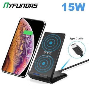 Image 1 - Drahtlose Ladegerät 15W QI Schnelle Drahtlose Ladestation Für Samsung S10 Plus S9 S8 Hinweis 10 9 8 Huawei xiaomi iPhone 11 XR XS Max X